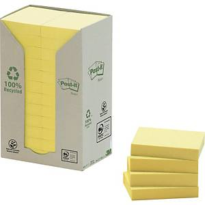 3M POST-IT RECYCLED NOTES TOWER OF 24 PADS YELLOW 38X51MM