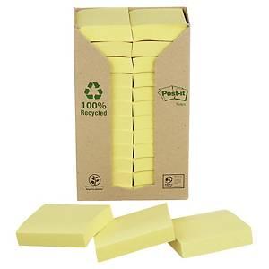 Notisblock Post-it Recycled, 51 x 38 mm, gula, förp. med 24 block och 1 hållare