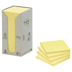 Post-it® Notes recyclées 654, jaune pastel, 76 x 76 mm, les 16