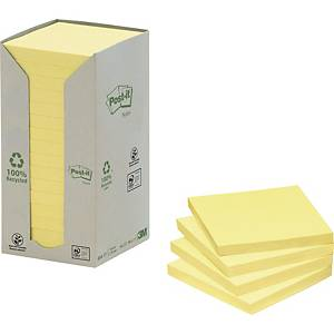 3M POST-IT RECYCLED NOTES CANARY YELLOW 76X76MM - 16 PADS
