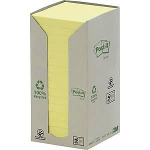 Haftnotizen Post-it Recycling 654-1T, 76 x 76 mm, 16 Blöcke à 100 Blatt, gelb