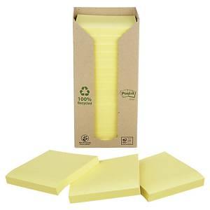 Post-it viestilapputorni eko 76x76mm keltainen, 1 kpl=16 nidettä