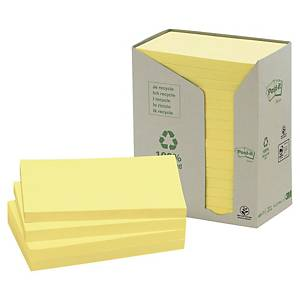 Post-it® Notes recyclées 655, jaune pastel, 76 x 127 mm, les 16