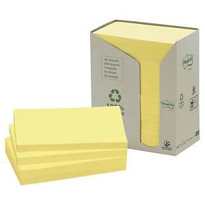 Notisblock Post-it Recycled, 76 x 127 mm, gula, förp. med 16 block och 1 hållare