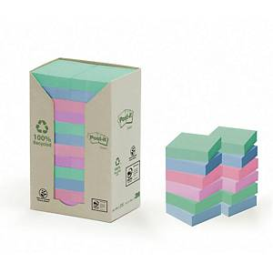 Post-it 653PRT recycled notes 51x38 mm rainbow colours - pack of 24