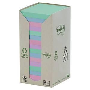 Foglietti Post-it® carta riciclata 16 blocchetti 76x76mm colori pastello