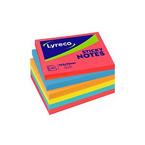 LYRECO ADHESIVE NOTES 100 X 75 MM 5 ASSORTED BRILLIANT COLOURED - PACK OF 6