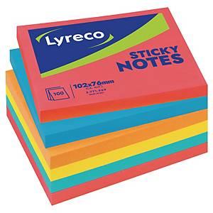 Notisblock Lyreco, 102 x 76mm, utvalda neonfärger, förp. med 6 st