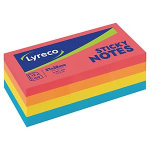 Lyreco memoblokken, 4 felle neonkleuren, herkleefbaar, 38 x 51mm, per 12