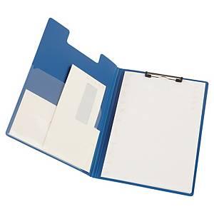 Porta-bloco com mola e aba - A4 - PVC rígido - azul