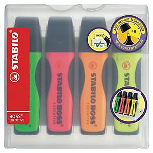 Stabilo Boss Executive Highlighter Assorted Color - Wallet of 4