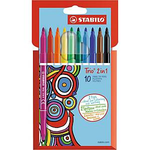 Feutre dessin Stabilo Trio 2 in 1 - coloris assortis - par 10