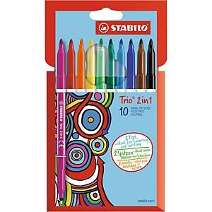 Fiberpenn Stabilo Trio, 2-i-1, etui med 10 farger