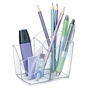 Pot à crayons Cep Ellypse avec 4 compartiments, transparent