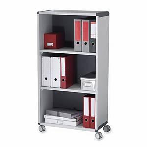 Étagère bureau Paperflow, avec 3 étages, portable, l65,1 x P33 x H116,6 cm, gris