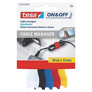 Tesa 55236 On & Off Hook & Loop Cable Manager Assorted Coloured - Pack of 5