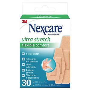 Bande adhésive Nexcare Comfort 360°, assort., paq. 30unités