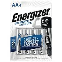 Pack de 4 piles Energizer ultimate lithium L91/AA