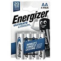 Batterier Energizer Ultimate Lithium AA, 1,5 V, förp. med 4 st.