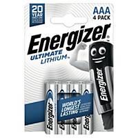 Batterier Energizer Ultimate Lithium AAA, 1,5V, pakke à 4 stk.