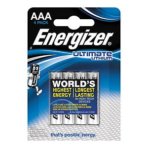 Pack de 4 pilhas Energizer Ultimate Lithium AAA/LR03