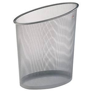 Alba Mesh afvalbak uit metaal, 18 l, ellipsvormig, zilverkleurig