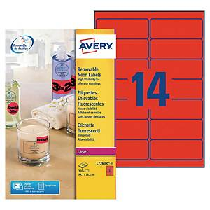 Etiquette enlevable Avery - L7263R-25 - 99,1 x 38,1 mm - rouge fluo - par 350