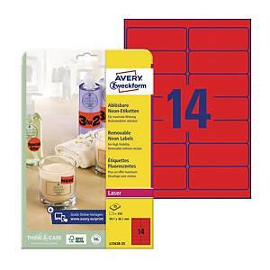 Etykiety neonowe AVERY ZWECKFORM 99,1x38,1mm, usuwalne, czerwone, 350 etykiet
