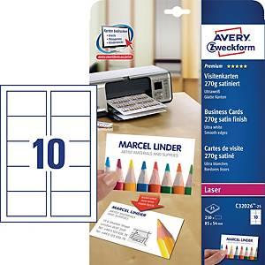 Premium Visitenkarten Avery Zweckform C32026-25, 85x54mm, 270g, satiniert, 250St