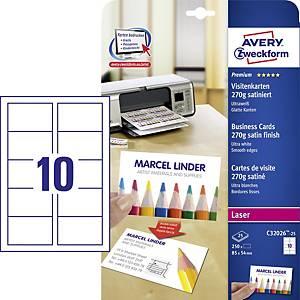 Avery Zweckform névjegykártyák, ultrafehér, szatén, 85 x 54 mm, 250 db/csomag