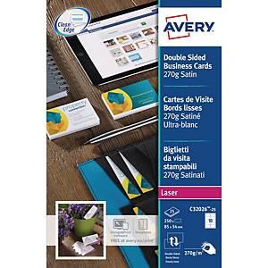 Visittkort Avery Quick&Clean, til laserskriver, eske à 250 stk.