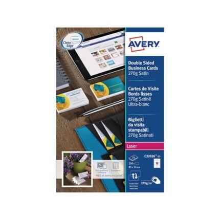 Visitenkarten Avery Zweckform C32026 85x54 Mm Laser Weiss