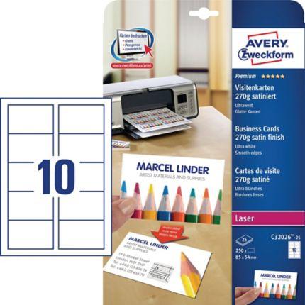 Premium Visitenkarten Avery Zweckform C32026 25 85x54mm