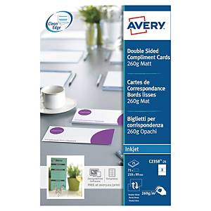 AVERY C2358 CORRESPONDENT CARDS 210 X 99 MM - PACK OF 75
