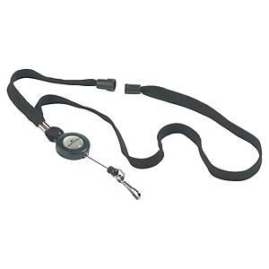 Lanière textile Durable 8223 avec enrouleur pour porte-badges, noir, les 10