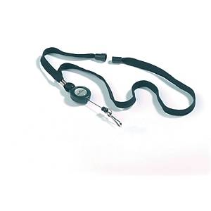Nøkkelsnor Durable, med jojo, sort, pakke à 10 stk.