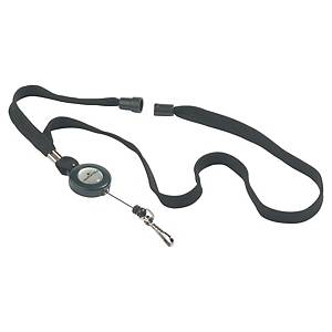 DURABLE 8223 440 MM NECKLACE IN BLACK WITH REEL - BOX OF 10