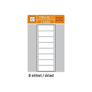 Tabelační etikety, S&K Label, 1-řadové, bílé, 200 kusů