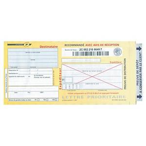 Imprimé recommandé liasse guichet - avec AR - SGR2 - boîte de 100