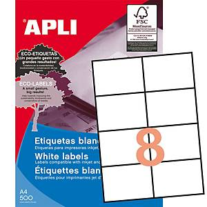 Caja de 4000 etiquetas adhesivas Apli 1796 - 105 x 74 mm - blanco