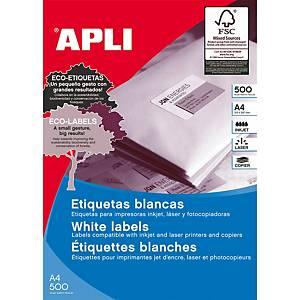 Caixa 2400 etiquetas autocolantes Apli 1263 - 64,6 x 33,8 mm - branco