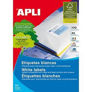 Caixa 1400 etiquetas autocolantes Apli 1275 - 105 x 40 mm - branco