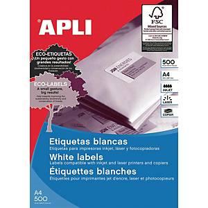 Caixa 100 etiquetas autocolantes Apli 1281 - 210x297 mm - branco