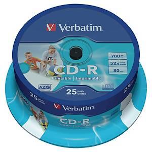 CD-R Verbatim, printbar, 700 MB, 52X, 25 stk. på spindel