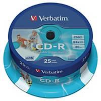 Verbatim CD-R, 700 MB, 80 perc, 52x, nyomtatható, 25 darab/adagoló