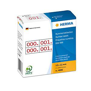 /PK2X1000 HERMA 4886 DOP.-NUM. 0-999 ROT