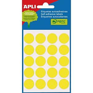 Bolsa de 100 etiquetas circulares Apli - Ø 19 mm - amarillo
