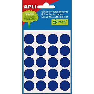 Embalagem de 100 etiquetas redondas Apli - Ø 19mm - azul