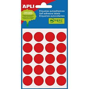 Bolsa de 100 etiquetas circulares Apli - Ø 19 mm - rojo