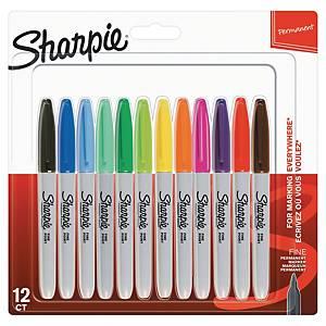 Permanent merkepenn Sharpie fine, boks à 12 farger